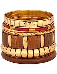The Jewelbox Designer Wooden Antique 18k Gold Plated Wood Bangle Kada Set Of 6 Girls Women