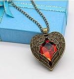 linyena Bronze des Bronze der Jahrgang Die Halskette des Anhänger der Flügel des Herz rot des Herz-Engel