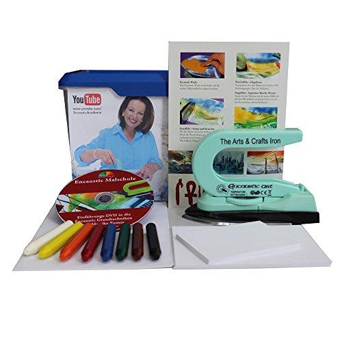 Encaustic Einsteiger-Box mit Maleisen, Wachsfarben, Malkarten und Anleitung auf DVD, Coverfoto mit Monika Romer