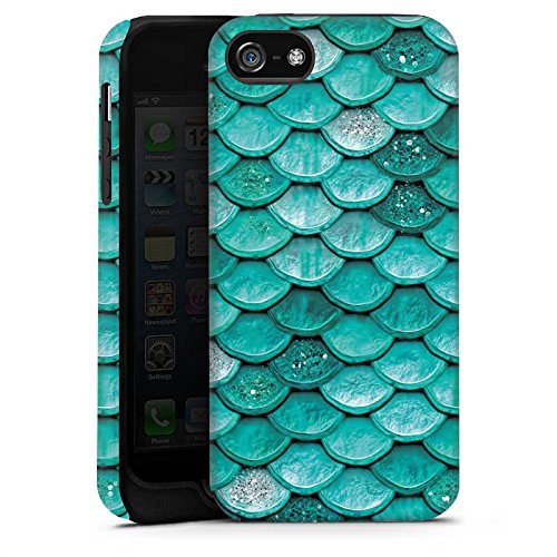 Apple iPhone SE Hülle Case Handyhülle Meerjungfrau Schuppen Mermaid Tough Case matt