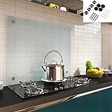 Melko Spritzschutz Herdblende aus Glas, für Küche, Herd, Fliesen, 6 mm ESG Sicherheitsglas, Küchenrückwand, inkl. Schrauben, 90 x 60 cm, Milchglas