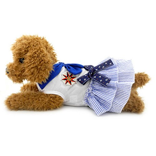 ranphy Kleiner Hund/Katze Sailor Tutu Kleid Hund Streifen Rock Haustier Kleidung Puppy Apparel (Sailor Girl Kostüm Haustier)
