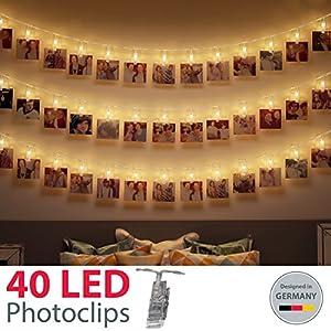 B.K.Licht LED Fotolichterkette I 40 LED Photoclips I Adventskalender Weihnachten I Lichterkette | Batterie betrieben