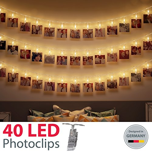 Guirnalda Luces Decoración Fotos I 40 LEDs 5m I Pinzas