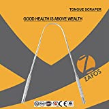 Zafos Tongue Cleaner Scraper Surgical Grade Stainless Steel | Bacteria Inhibiting, Non-synthetic Grip | Sterilizable