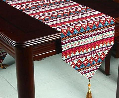 LD&P Baumwolle und Leinen blau rot nationale Bräuche Tischläufer mit Quaste für Dresser Wohnzimmer Esstisch, TV-Schrank staubdichte (Schuhkarton-geschenke Für Weihnachten)