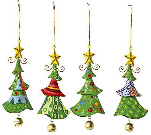 """Metallanhänger """"Tannenbaum"""", Weihnachtsartikel / Dekoartikel 4er Set in Tannenbaum-Form, schöne Weihnachtsdekoration am Weihnachtsbaum, Fenster oder Türgesteck"""