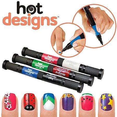 Nail art kit (Shopo Shopo's 2 in 1 Hot Designs Nail Art Polish Pens With 6 Glitz & Glam Colors)