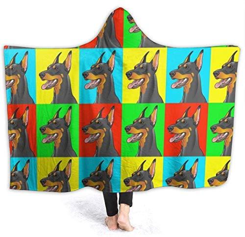 Merryfull Dobermann Pinscher Hunde Kapuzen Decke Throw Wearable Cuddle Hoodie Robe Spa Schwarz Ultra Soft Blanket Bademantel