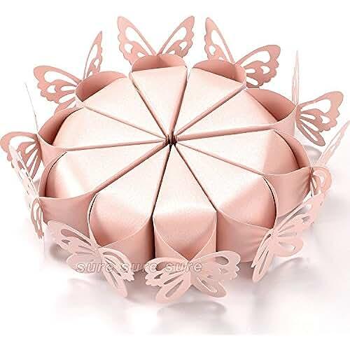 ideas regalos para comuniones kawaii 100 piezas con mariposas cajas del favor de partido, carne rosa