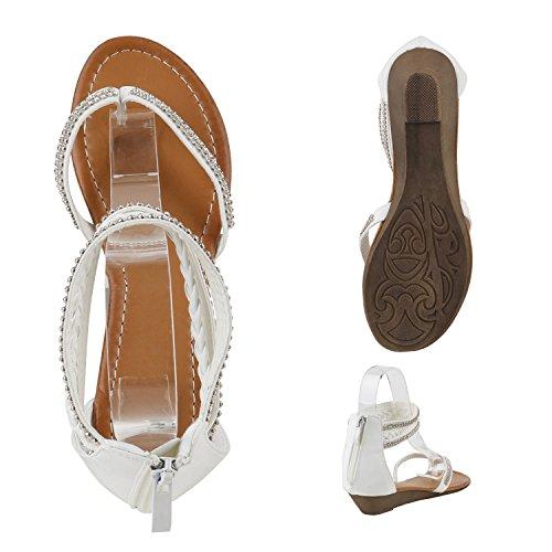 Damen Keilsandaletten Glitzer | Sandaletten Denim Bast Leder-Optik | Blumen Keilabsatz Sandalen | Metallic Wedges Strass Weiss Strass Zehentrenner
