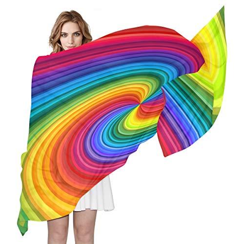 BIGJOKE Damen Seidenschal mit Regenbogenfarben, leicht, lang, weich, Chiffon, Schal, Wickelschal, für Damen und Mädchen und Herren