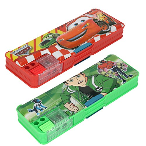 Aarvi Car and Ben10 Character Plastic Pencil Box With Magnetic Closure (Combo Of 2 Pack)
