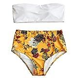 Langstar Bandeau Bikini Damen Blumen Druck Vintage High Waist Bademode S