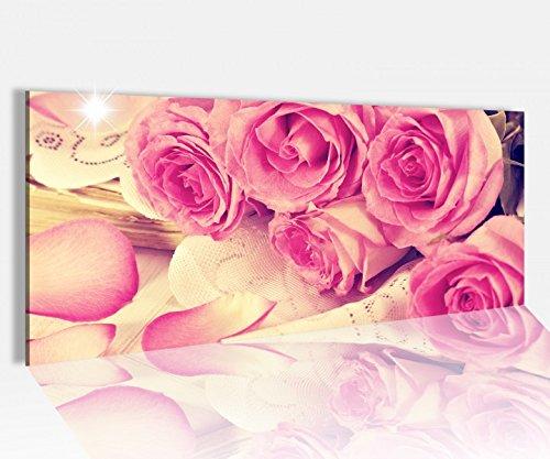 Acrylglasbild 100x40cm rosa pinke rosen vintage style alt Acrylbild Glasbild Acrylglas Acrylglasbilder 14A1546, Acrylglas Größe1:100cmx40cm
