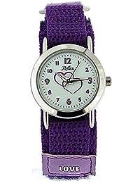 Reflex analoge violette Mädchenuhr, Liebesherzen Stoffbandarmband KID-0085