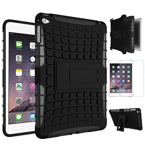 Hybrid Outdoor Schutzhülle Cover Schwarz für iPad Mini 4 7.9 Zoll Tasche Case + 0.3 mm H9 Tempered Panzerglas Folie