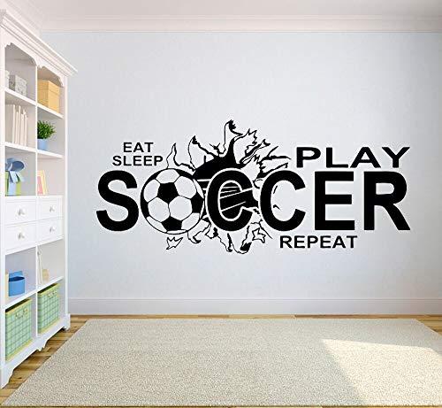 yaonuli Fußball wandaufkleber Essen Schlaf Spielen fußball Vinyl wandaufkleber Kinder Jungen Teenager Schlafzimmer Dekoration Sport Kunst Aufkleber murals102x43cm