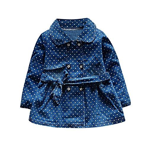 Baby Mädchen denim kleid,Tonsee Frühling Herbst Prinzessin Langarm Polka Dots Kleid Kleinkind Blumendruck Bowknot Kurzschluss Hülsen Outfit Niedlicher Rock (XL(18-24M), Blau2) (Frieden Denim)