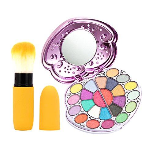 MagiDeal 33 Couleurs Palette Fard à Paupières Cache-cernes Shimmer et Mat Palette de Maquillage Cosmétique avec Pinceau à Fond de Teint - Brosse Jaune