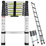 Bowose Aluminum Telescopic Ladder 2.6M 10FT Extension Climb Step Ladder Muti-purpose DIY Portable