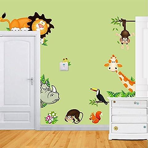 JoyGood - Adesivi amovibili per pareti a forma di animali dello zoo quali giraffa, scimmia e leone, per decorare camerette e sale