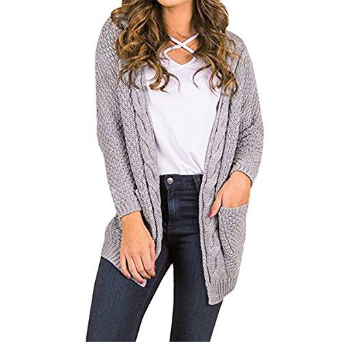 CNFIO Pullover Damen Strickjacke Lässig Casual Cardigan Langarm Outwear mit Taschen Mantel Jacke Winter Rosa L