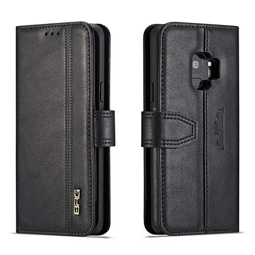 Samsung Galaxy S9 Hülle,[ Shock Absorbent ] Cases for PU Leder Kartenschlitz Brieftasche Hülle dauerhaft Flip Hülle zum Samsung Galaxy S9 Black