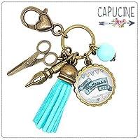Porte clés - bijou de sac Maîtresse - Bronze et cabochon verre illustré Super Maîtresse - idée cadeau maîtresse, cadeau fin d'année scolaire