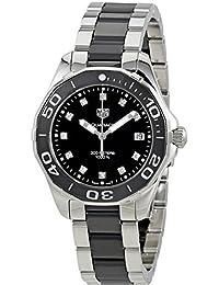 TAG Heuer Aquaracer Damen-Armbanduhr Diamant 35mm Armband Edelstahl Gehäuse + Quarz Analog WAY131C.BA0913