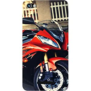 Casotec Red Motorcycle Design Hard Back Case Cover for Micromax Canvas Hue 2 A316