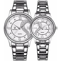 tiannbu fq-102Edelstahl Romantische Paar HIS und HERS Handgelenk Uhren für Männer Frauen Weiß Set von 2