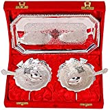 Indian Art Villa Leaf Design Silver Plated Set of 2 Bowl with 2 Spoon & 1 Tray, Serveware Gift Set Decorative, Silver
