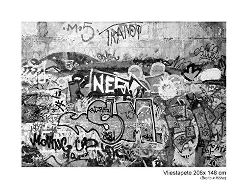 Fototapete Vlies Vliestapete Grafitti Graffiti Urban Deco Wall Spray Art Kunst Wand Bild Dekoration Modern XXL Bahn No.76_II (208x148cm)