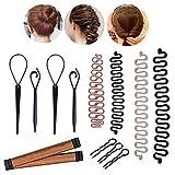 Chignon de Cheveux Maker, MYSWEETY Accessoires de Coiffure Cheveux Tressé Outils de Style de Pince Pour le Style Bricolage Topsy Queue Boucle, Kit de Queue cheval (4 Style)