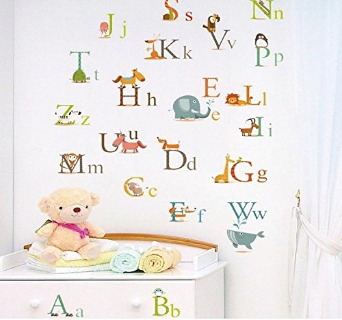 ulatree-cartoon-animals-alphabet-wall-stickers-decal-removable-for-childrens-room