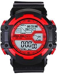 YAZILIND unisexe Sports Watch multifonction Led lumière numérique étanche montre-bracelet (rouge)