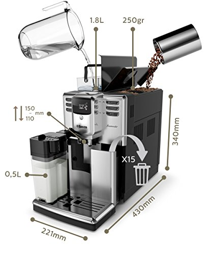 Saeco HD8917/01 Incanto Kaffeevollautomat (1850 Watt, AquaClean, integrierte Milchkaraffe) silber - 2
