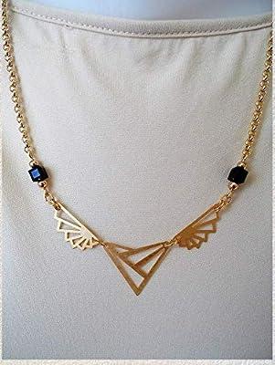 Collier Art Déco doré cubes cristal Swarovski