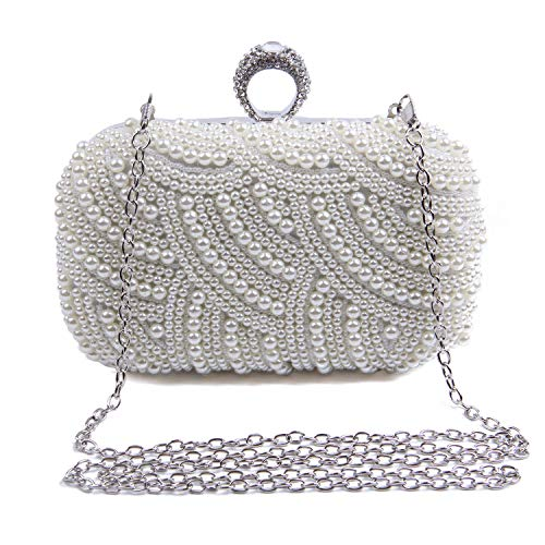 Perlen Clutch Handtasche (Syrads Abendtasche Damen mit Perle Braut Tasche Clutch Handtasche Umhängetasche Party Hochzeit Bankett Handtasche 769)