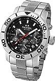 Grandeur Diver TW Steel Unisex Quarzuhr mit schwarzem Zifferblatt Chronograph Anzeige und Silber-Edelstahl-Armband TW706