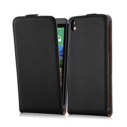 Cadorabo Hülle für HTC Desire 816 - Hülle in KAVIAR SCHWARZ – Handyhülle aus glattem Kunstleder im Flip Design - Case Cover Schutzhülle Etui Tasche