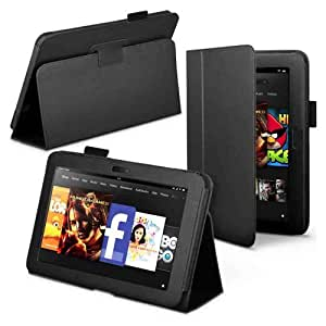 """TG Cases® New Amazon Kindle Fire HD 7"""" Black Executive Premium Folio Leather Multi Function Standby Case / Cover / Wallet for the New Amazon Kindle Fire HD 7"""" Tablet 16GB / 32GB (25 Oct. 2012 Release) with Built-in Magnet for Sleep / Wake Feature - 2 Included Screen Protectors"""