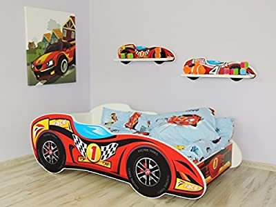 TODDLER CHILDREN KIDS BED INCLUDING MATTRESS CAR F1 140x70
