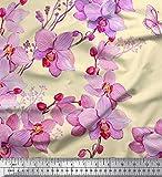 Soimoi Gelb Viskose Chiffon Stoff Vogel & Orchideen Blume