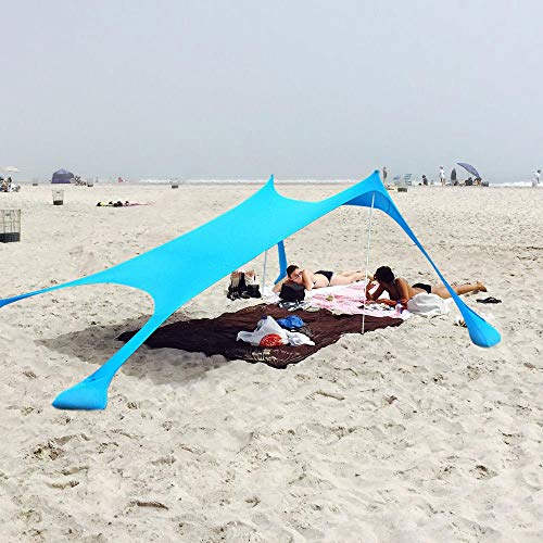 Qrout Strandzelt mit Sand Anker - Strandmuschel 100% Lycra UV Schutz UPF50 - 2,1 m x 2,1 m Garten Sonnensegel für 2 - 4 Personen Strand Camping Wandern Angeln Picknick