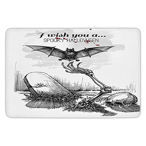 BagsPillow Bathroom Bath Rug Kitchen Floor Mat Carpet,Halloween Decorations,Dead Skull Zombie Out Grave and Flying Bat Hand Drawn Spooky Picture,Black White,Flannel Microfiber Non-Slip Soft Absorbent