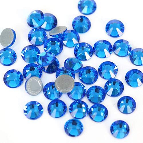 PENVEAT Hochwertige Strass Glitter Strass Glaskristallsteine   Eisen auf Rhinestones für Bekleidung Schuhe E7037, Capri Blue, SS16 1440pcs - Kleine Capri-sandalen