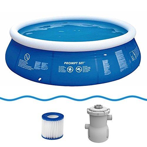 Jilong Marin Blue Rundpool Set Ø 360x84 cm mit Becken Pumpe Filter-Kartusche, Quick-Up Swimming Pool Fast-Set Kinder und Familien Schwimmbecken Schwimmbad für Garten und Terasse
