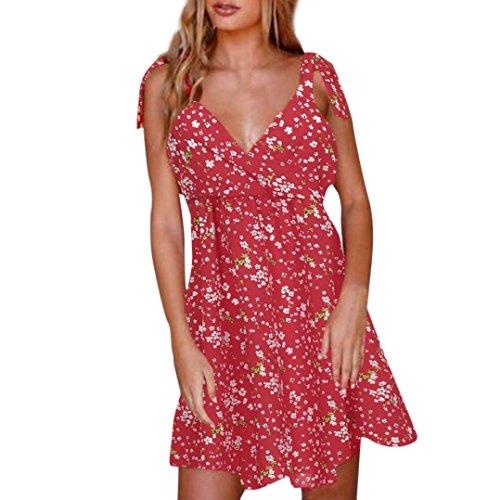 ode Frauen Sommer Strand Clubbing Charming Backless Minikleid Abend Party Strandkleid Sommerkleid(Rot,EU-44/CN-L) (Saudi Arabische Kostüme Für Frauen)